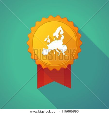Long Shadow Badge Icon With  A Map Of Europe