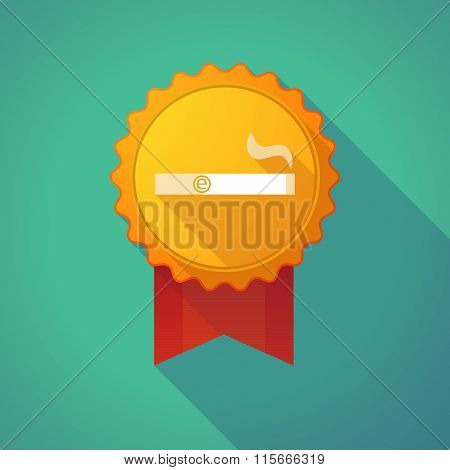 Long Shadow Badge Icon With An Electronic Cigarette