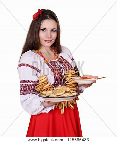 Woman with food. concept for shrovetide
