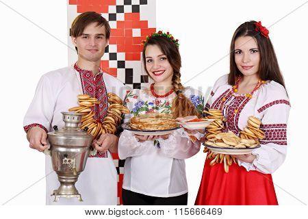 Cheerful people celebrate shrovetide