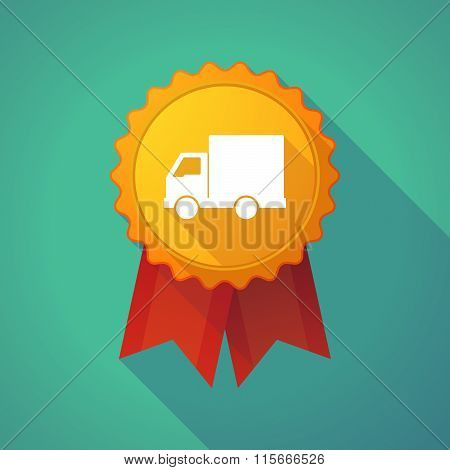 Long Shadow Badge Icon With A  Delivery Truck