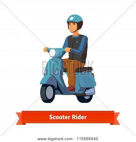 Young man on a scooter with helmet