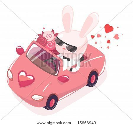 Vector Illustration Of Pink Bunny Riding In Red Car With A Bouquet On White Background. Art Design F