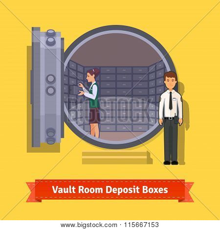 Bank vault room with a safe deposit boxes