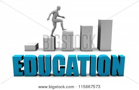 Education 3D Concept  in Blue with Bar Chart Graph