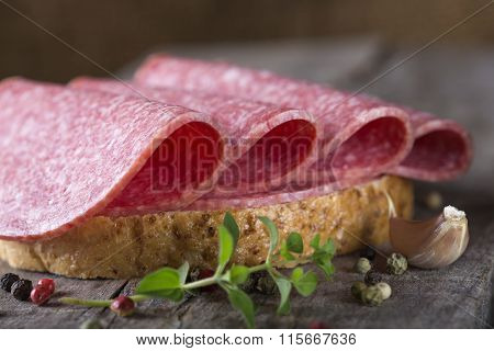 Open Sandwich Of Salami