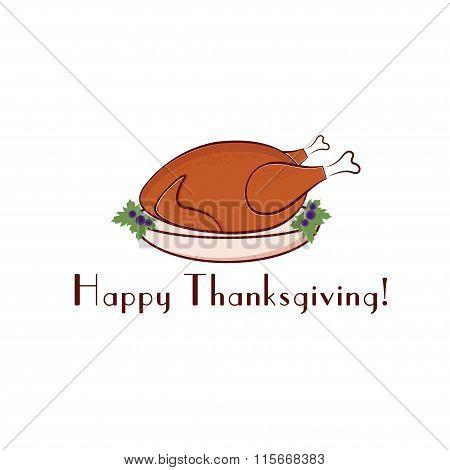 Happy Thanksgiving Illustration With Turkey