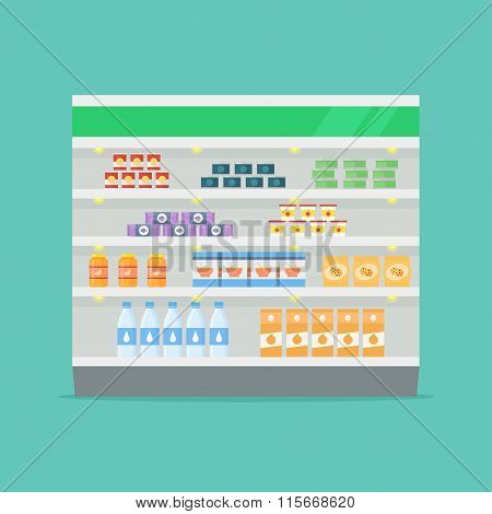 Shelves with food