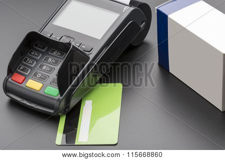 POS terminal, credit card and pill box