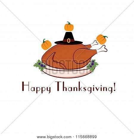 Happy Thanksgiving Illustration With Turkey, Pilgrim Hat And Pumpkins