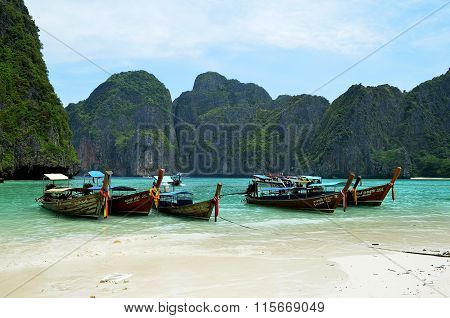 Long-tailed boats on Maya beach (Thailand)