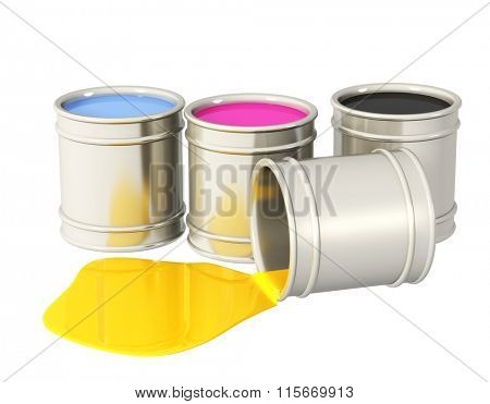 Palette CMYK. Four bucket with paint of magenta, blue, black and yellow colors. Objects isolated on white background