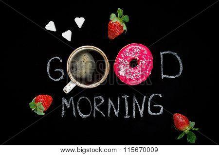 Good morning greeting, sweet breakfast food