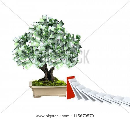 3d money tree with euro banknotes and domino effect. Isolated on white background