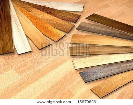 New planks of oak parquet of different colors. 3d