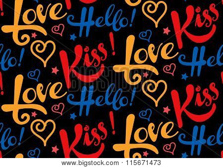 Love, kiss, hello, text, seamless pattern, background