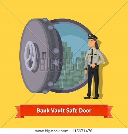 Bank vault room safe door with a officer guard