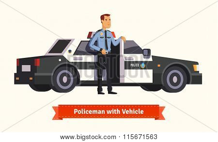 Policeman standing in from of his car