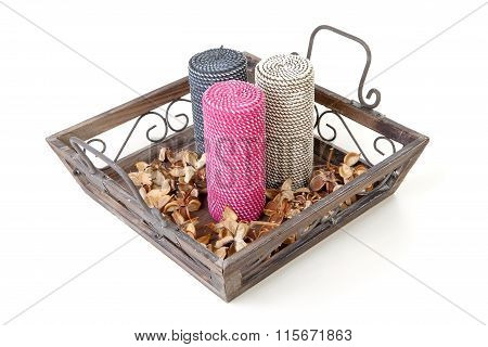Tray Decorated With Candles