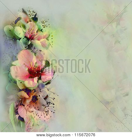 Greeting vintage card with bright spring flowers on hazed pastel bacground