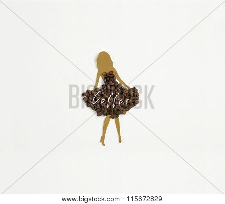 Meet coffee with milk ! A light brown woman's silhouette wearing a dress of coffee beans on white background
