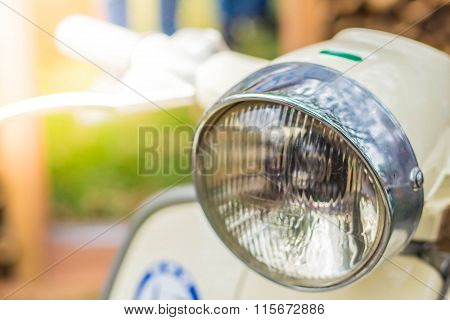 Headlights Of Motorbikes In The Park.
