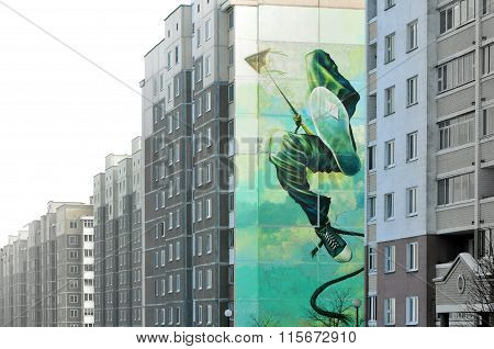 Street art on the wall of a building in Grodno