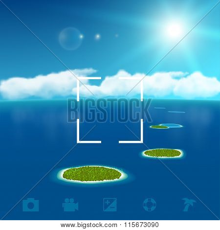 Seascape with Coral Islands. Vector illustration, eps10.
