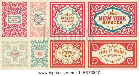 Retro cards set, with Floral Details