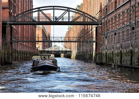Channel And Bridges At Hamburg, Germany