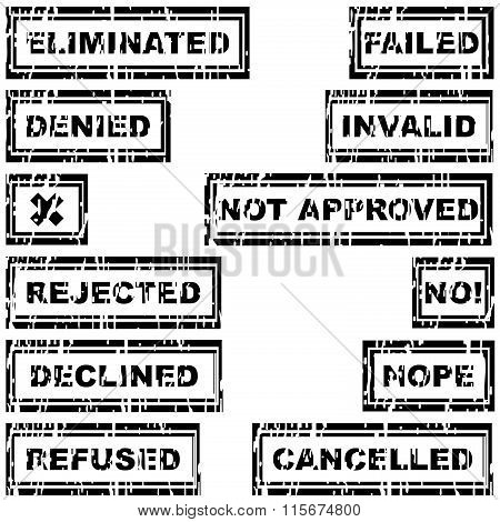 Set Of Rubber Stamps With Messages Refused, Rejected, Cancelled, Declined, Eliminated
