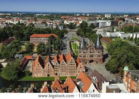 Aerial View Of Lubeck, Germany.