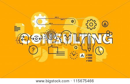 Thin line flat design banner of consulting solutions