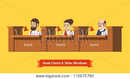 Three bank clerks at work