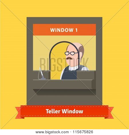 Teller window with a working bald cashier