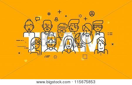 Thin line flat design banner of business people teamwork