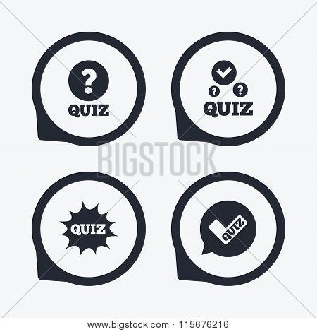 Quiz icons. Speech bubble with check mark symbol