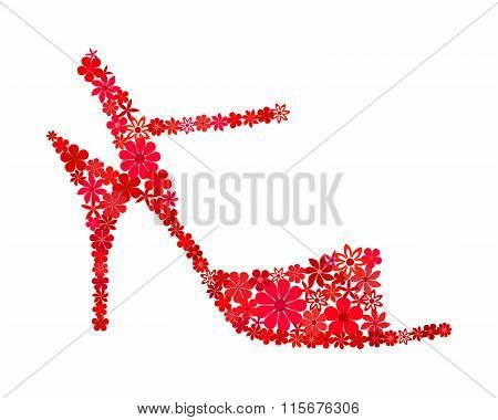 Floral mosaic red tango shoe