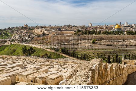 Temple Mount And Jewish Cemetery In Jerusalem