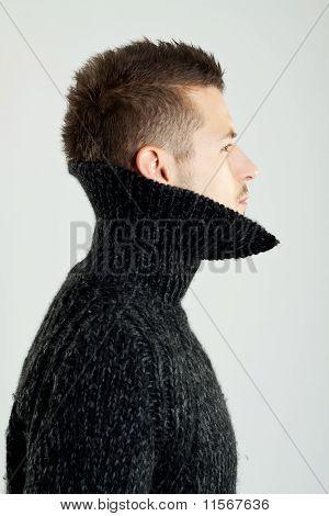 Model Wearing A Wool Shirt