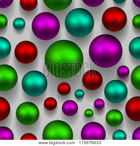 3D Balls Colorful Seamless Background. Green, Pink, Purple Colors. Vector Eps 10