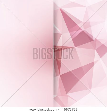 Background Of Geometric Shapes. Pink, White Colors. Blur Background With Glass. Colorful Mosaic Patt