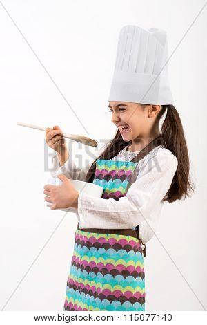 Little Chef Having Fun Laughing