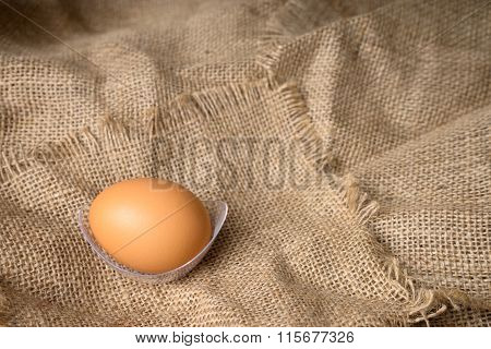 Egg On Burlap Material