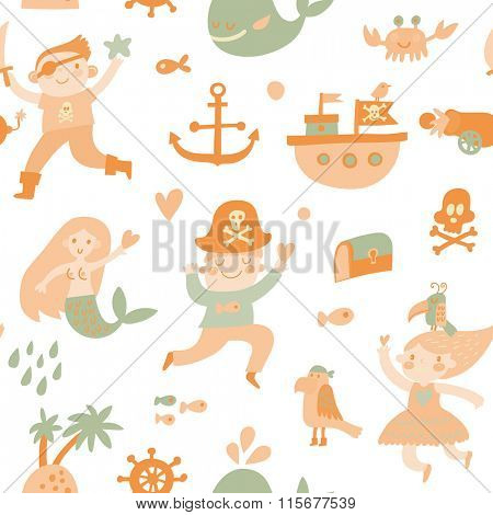 Lovely boys and girls in pirate costumes in cartoon seamless pattern. Sweet holiday background with pirates, anchor, ship, whale, crab, parrot, mermaid and island. Awesome seamless pattern in vector