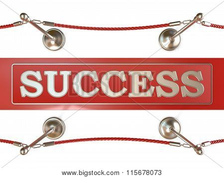 Velvet rope barrier and red carpet with SUCCESS sign. 3D
