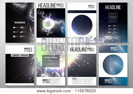 Set of business templates for brochure, flyer or booklet. Electric lighting effect. Magic vector bac