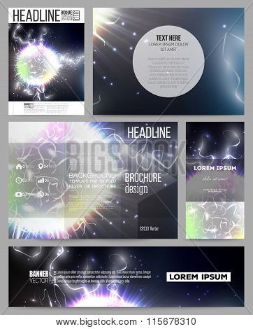 Set of business templates for presentation, brochure, flyer or booklet. Electric lighting effect. Ma