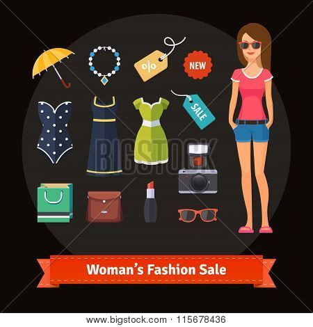 Woman summer fashion sale set with model