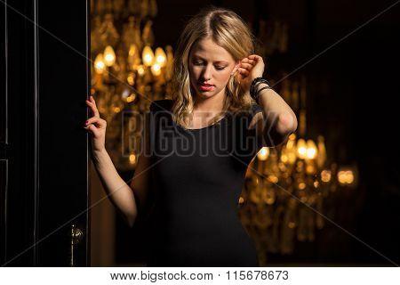 Gorgeous woman in black dress